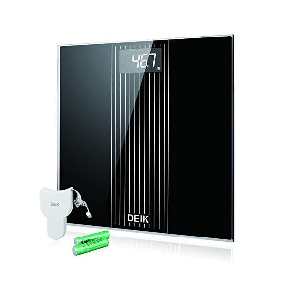 DEIK Bilancia Pesa Persona Digitale, LCD Schermo Retroilluminato, includere Metro a Nastro e 2 Batteria AAA, Elettronica… 1 spesavip