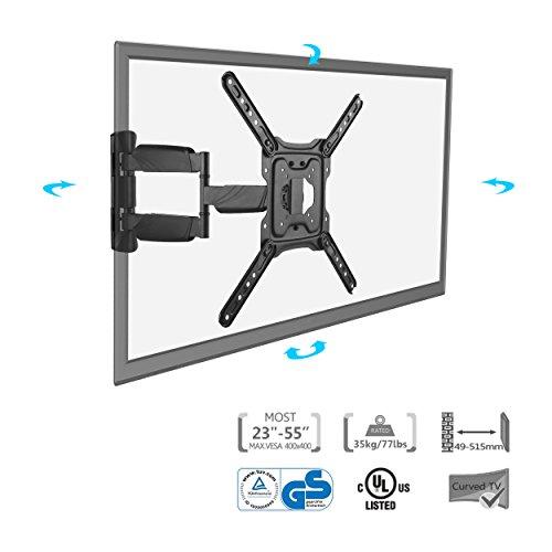 SAVONGA FBA-114N TÜV GS zertifizierte TV Wandhalterung SCHWENKBAR NEIGBAR für Fernseher Monitor 23 24 27 32 40 41 42 49 50 55 Zoll wie Samsung Telefunken Hisense VESA 75x75 bis 400x400 Hält bis 35 kg