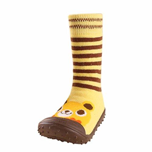 Weit Oben Socken (JERFER Boden Socken Rutschfeste Gummisohlen Schuhe-Premium Weich Leder Babyschuhe Jungen und Mädchen Babyschuhe - Neugeborene bis 1-3.5Jahre (21, Gelb))