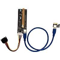 Sannysis Adaptador PCI Express Tarjeta vertical accionado/ Tarjeta de expansión USB 3.0 extension cable 1x a 16x Monero color amarillo
