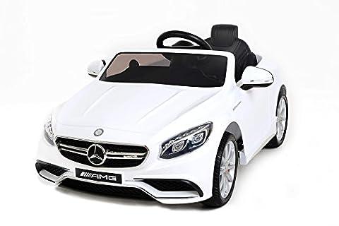 Mercedes S63 AMG Voiture-jouet électrique pour enfant, DEUX MOTEURS, blanc,