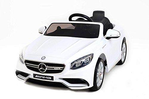 RIRICAR Mercedes-Benz S63 AMG, Macchina Elettrica per Bambini, Toy Car, 2 Motori, Ruote Eva morbide, Blanco, Licenza Originale