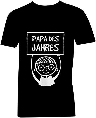 Papa des Jahres ★ V-Neck T-Shirt Männer-Herren ★ hochwertig bedruckt mit lustigem Spruch ★ Die perfekte Geschenk-Idee (01) schwarz