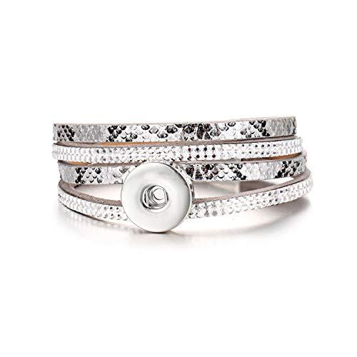 Awertaweyt Multi-Layer-Lederarmband, geflochtene Wrap-Stulpearmband, New Snap Jewelry Leather Snap Bracelet Leopard Multilayer Leather 18Mm Snap Button Bracelet for Women Men Couple Bracelets 5 Silber Leopard Snap