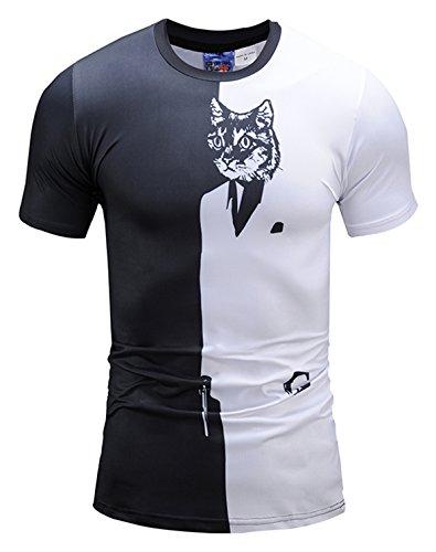 ck T-Shirt mit Anzug Katze Muster (T Shirt Mit Anzug)