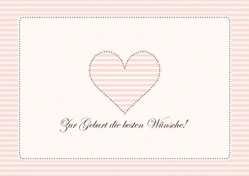 Erhältlich im 1er 4er 8er Set: Zur Geburt die besten Wünsche! Schlichte Klappgrusskarte/Glückwunschkarte/Geburtskarte/Babygrusskarte/Grusskarte für ein Mädchen in Alt Rosa mit gestreiftem Herz (Mit Umschlag) (1)