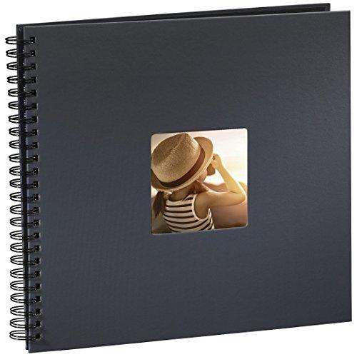 Hama Fine Art - Álbum de fotos, 50 páginas negras (25 hojas), álbum con espiral, 36 x 32 cm, con compartimento para insertar foto, gris