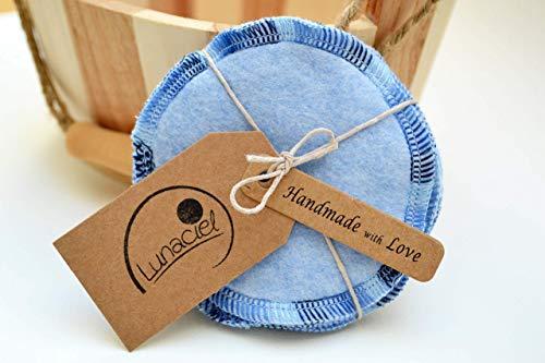 Abschminkpads aus Bio-Baumwolle, waschbar, 10 Stück, Kosmetikpads, wiederverwendbare Wattepads, Gesichtsreinigung, umweltfreundlich, nachhaltig, Zero Waste, blau, Lunaciel