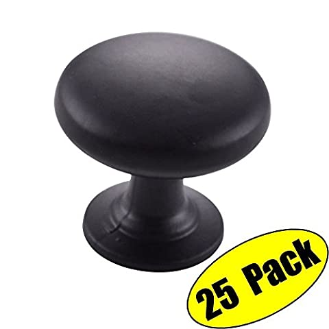 KES SOLID Metal Cabinet Hardware Round Mushroom Knob Matt Black 1-1/4