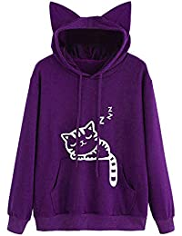 Sweat-Shirt Capuche Femme Sweat À Capuche Imprimé Oreille de Chat Pull Sport Manches Longues Sweatshirts Tops Chemisier Pullover Poche Covermason