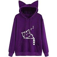 Hanomes Damen pullover, Damen Katze Langarm Hoodie Sweatshirt mit Kapuze Pullover Tops Bluse preisvergleich bei billige-tabletten.eu