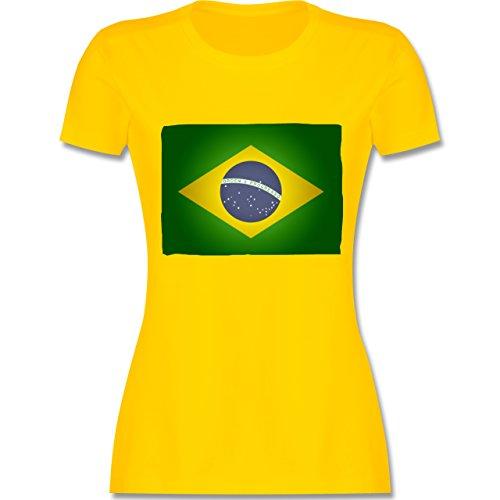 Länder - Flagge Brasilien - tailliertes Premium T-Shirt mit Rundhalsausschnitt für Damen Gelb