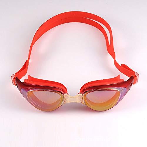 Tauch Schwimmbrille, Schutzbrille auslaufsicher beschlagfrei UV-beständig Triathlon-Schwimmbrille mit freiem Schutzüberzug geeignet für erwachsene Männer Frauen Kleinkinder Mehrfachauswahl rot 2