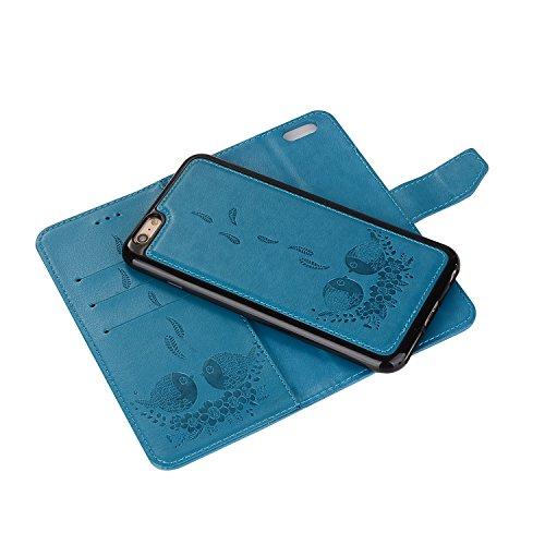 EUWLY Custodia Protecttiva Cover per iPhone 7/iPhone 8 (4.7) PU Pelle Portafoglio Custodia Caso Goffratura Carino Cute Uccello Grasso e Fiore Pattern Designo Wallet Custodia in Pelle Cover Retro Prem Blu