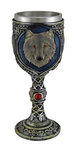 Edelstahl-liner (Metallic Tribal Finish grau Wolf head Weinkelch mit Edelstahl-Liner)