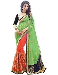 Om Designer Half-Half Pista Green & Orange Women's Saree with Blouse Material