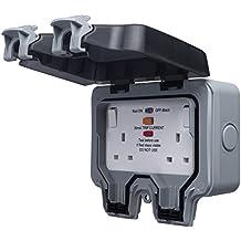 Masterplug WP22RCD 13amp 2 Socket Weatherproof IP66 Outdoor Socket with Latching RCD