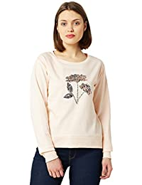Miss Chase Women's Peach Floral Sequin Boxy Sweatshirt