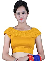 d6ed5e8a0d80b Gebisha Fashion Women s Lycra Designer Shoulder short sleeve Stretchable  Blouse