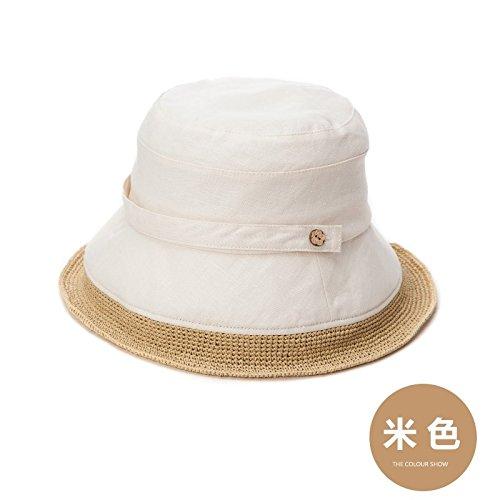 LLZTYM Chapeau/Femme/Été/Parasol/Pliable/Crème Solaire/Plage/Plage/Chapeau De Paille/Cadeau Beige