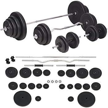 vidaXL Juego de Pesas 120kg Barra y Mancuernas Fitness y Musculación Gimnasio