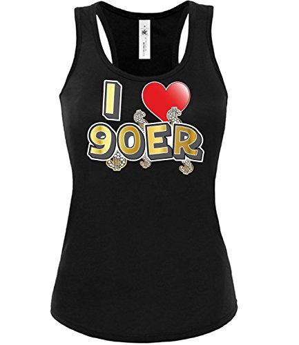 Golebros I Love 90er Karneval Fasching Motto Schlager Party Frauen Top Tshirt Geschenk Geburtstag Karnevalskostüm Gruppenkostüm Paar Disco deko Brille