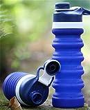 Tragbare Silikon Faltteleskopkessel Fitness Mountainbike Sport Outdoor Wasserflasche 550ml Dunkelblau