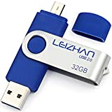 LEIZHAN USB-Stick 2.0 32G OTG (On the Go) Dual Port (USB 2.0 und Micro USB) Swivel USB Memory Stick Flash-Laufwerk externe Pendrive für Android Smartphone Tablet & PC Blau