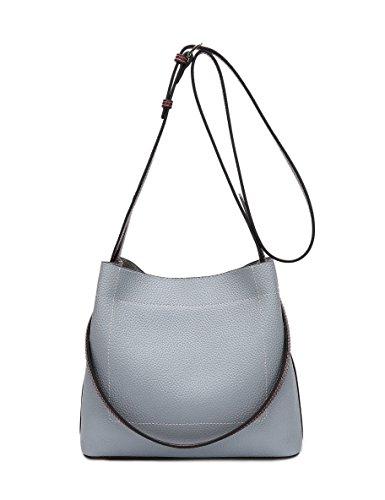DEERWORD Damen Umhängetaschen Handtaschen Totes Henkeltaschen Schultertaschen Leder Hellblau - Mittleres Leder Bowling Tasche