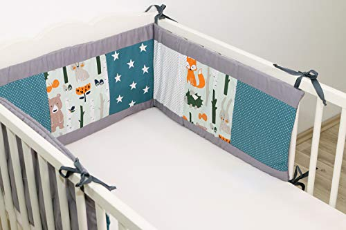 ULLENBOOM ® Nestchen Waldtiere Petrol (Baby Bettnestchen, Bettumrandung für 120×60 cm / 140×170 cm Babybetten)