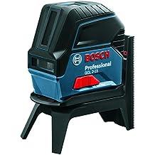Bosch 0601066E00 - Láser combinado con soporte multifunción giratorio, placa reflectora, alcance 15 m, pillas 1.5 V, color negro y azul