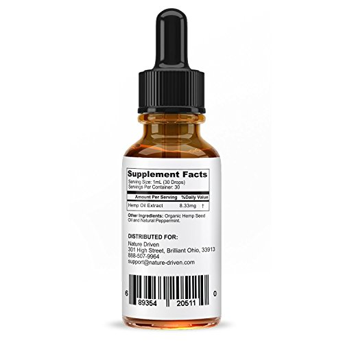 Hemp Oil for Pain Relief :: Stress Support, Anti Anxiety Supplements:: Herbal Drops :: Rich in Omega 3 and Omega 6 Fatty Acids :: Natural Anti Inflammatory :: 1 Fl Oz. (30ml) (Peppermint)