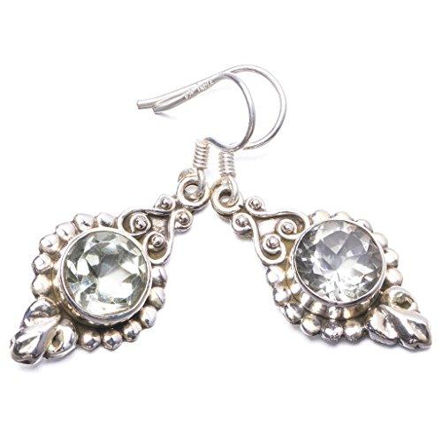 StarGems(tm) 925er Sterling Silber White Topaz Einzigartig Handgefertigt Ohrringe 3,81cm White Topaz Y3038