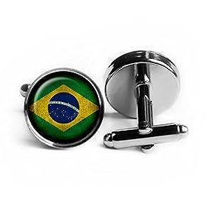Brazil Brazilian Flag Brasilien Brasilianische Flagge Rhodium Silber Manschettenknöpfe