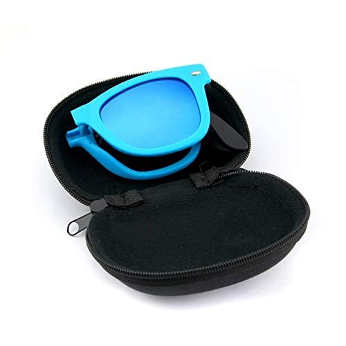 ZRTYJ Sonnenbrille Klassische Männer Und Frauen Zusammenklappbare Sonnenbrille Mit Box Tragbare Sonnenbrille Männlich Blau Beschichtet Gläser