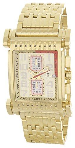 Aqua Master W330oro tono Hombres de diamantes reloj de cuarzo de acero inoxidable–