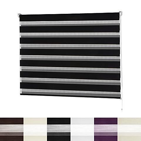 Store enrouleur jour nuit | VarioLight: Occultant ou Tamisant | Rideaux stores sans perçage | 6 coloris et 8 largeurs au choix| Noir, 110x150cm