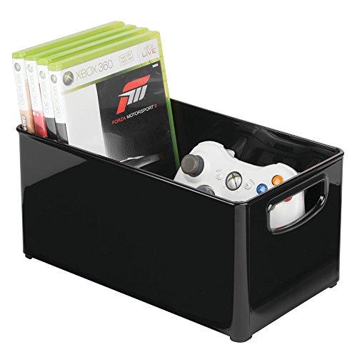 mDesign Caja organizadora para DVD, CD y videojuegos – Práctica caja para DVD con asas, fácil de transportar – Caja de plástico porta DVD para películas, series o juegos de consola – negro