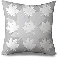 Grigio federa cuscino, motivo foglia d' acero, decorativo grigio Cuscino Sham per salotto quadrato Tela Accent cuscino per divano e divano 45,7x 45,7cm Standard federa con zip