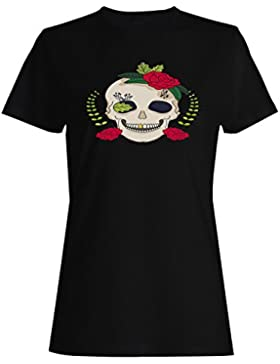 Cráneo con la novedad del día de fiesta de las rosas divertida camiseta de las mujeres a940f