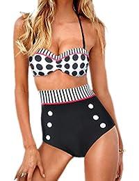 Boolavard Bikini avec haut push-up fond blanc à pois noirs et culotte taille haute noire