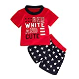 Fenverk_Baby Kleidung Set MäDchen Jungle Kurzarm T-Shirt + Kurze Hose Pants Babybody Mit Spruch FüR Jungen Unisex(rot,12-18 Monate)
