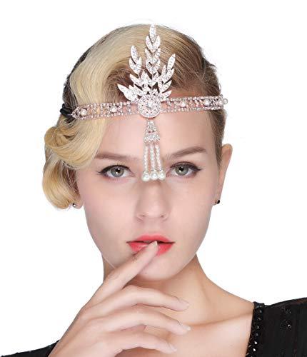 FAIRY COUPLE Art Deco 1920er Flapper Great Gatsby Blätter Braut Tiara Perlen Kopfstück Stirnband (Rose ()