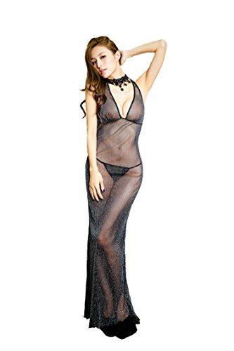 Shangrui Le donne con scollo a V Halter Dress profonda, abito da sera in chiffon trasparente Nero