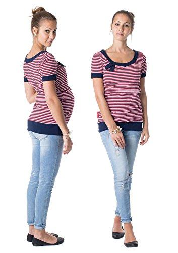 GoFuture Damen Umstandsshirt Stillshirt 3in1 Alda GF2005 marine-rot-weißen Streifen