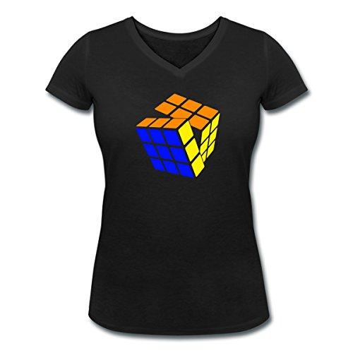 Rubik's Cube Rotation Presque Résolu T-shirt col V Femme de Spreadshirt® Noir