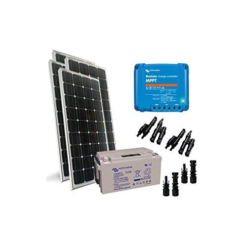 """Kit Solar Pro2 400W 12V 4X Placa Solar 120W + Controlador de carga 30A - MPPT + Batería 220Ah El """"Kit Solar Pro"""" es ideal para la alimentación de cargas de bajo voltaje, tales como lámparas y otros dispositivos de 12V. Puede auto-producir energía y ..."""