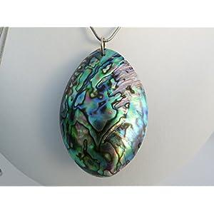 Ovale Paua Muschel Abalone an Edelstahl Kette 80 cm lang