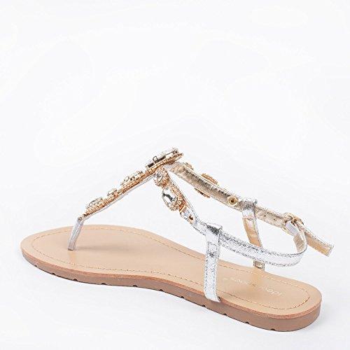 Ideal Shoes–Barfuß Glitterlack und Kette Strass Kristall Venda Silber - silber