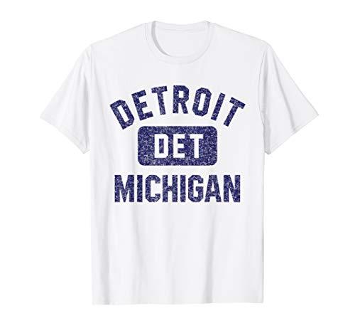 Vintage-print T-shirt Damen (Detroit DET Gym Style Distressed Navy Blue Print T-Shirt)